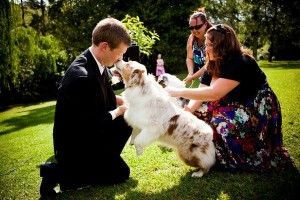 Peach the ringbearer, giving our best man a quick kiss